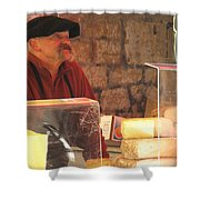 Cheese Seller At Sarlat Market Shower Curtain