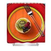 Cheesecake On Plate Shower Curtain