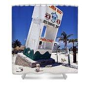 Chen Rio Beach Bar Sign Cozumel Mexico Shower Curtain