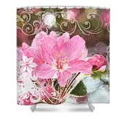 Cherry Blossom Art With Decorations Shower Curtain