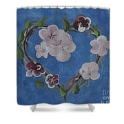 Cherry Blossom Heart Shower Curtain