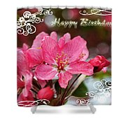 Cherry Blossoms Greeting Card  Bi Shower Curtain
