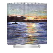 Chesapeake Dusk Boat Ride Shower Curtain