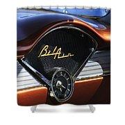 Chevrolet Belair Dashboard Clock And Emblem Shower Curtain