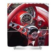 Chevrolet Corvette Steering Wheel Shower Curtain