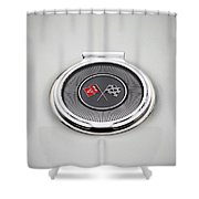 Chevy Gas Cap Silver Emblem Shower Curtain