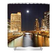 Chicago At Night At Columbus Drive Bridge Shower Curtain