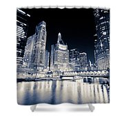 Chicago At Night At Michigan Avenue Bridge Shower Curtain
