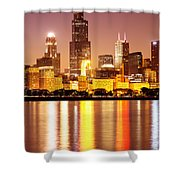 Chicago At Night With Willis-sears Tower Shower Curtain by Paul Velgos