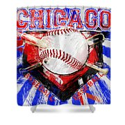 Chicago Baseball Abstract Shower Curtain