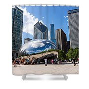 Chicago Bean Cloud Gate With People Shower Curtain