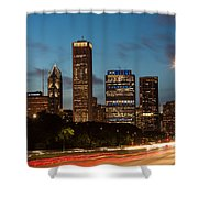 Chicago Business District At Dusk Shower Curtain