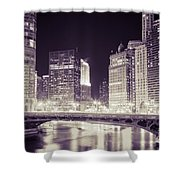 Chicago Cityscape At State Street Bridge Shower Curtain
