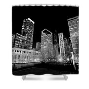Chicago Downtown At Night  Shower Curtain