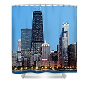 Chicago Downtown At Night With John Hancock Building Shower Curtain