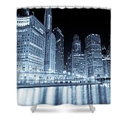 Chicago Downtown Skyline At Night Shower Curtain