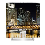 Chicago Dusable Michigan Avenue Bridge At Night Shower Curtain