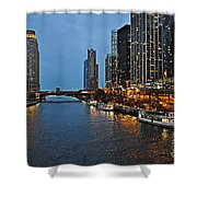 Chicago River At Twilight Shower Curtain