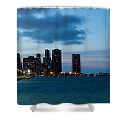 Chicago Skyline And Navy Pier At Dusk Shower Curtain