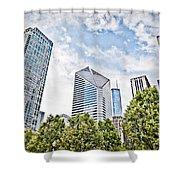 Chicago Skyline At Millenium Park Shower Curtain by Paul Velgos