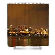 Chicago Skyline At Night Shower Curtain