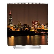 Chicago Skyline Downtown City Buildings At Night Shower Curtain by Paul Velgos