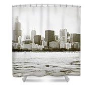 Chicago Skyline In Winter  Shower Curtain by Paul Velgos