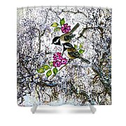 Chickadees In The Filbert Tree Shower Curtain