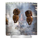 Chickens Roasting On Open Pit Fire Shower Curtain