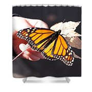 Child With Butterfly Shower Curtain