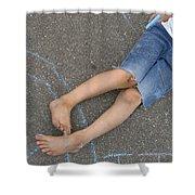 Childhood - Boy Draws With Chalk Shower Curtain