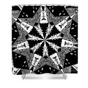 Children Animals Kaleidoscope Black And White Shower Curtain