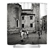 Children At Play In A Venice Piazza Shower Curtain