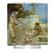 Children By The Mediterranean  Shower Curtain