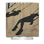 Children Cast Body Shadows In The Sand Shower Curtain