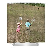 Children Collecting Insects Shower Curtain