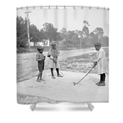 Children Playing Golf Shower Curtain