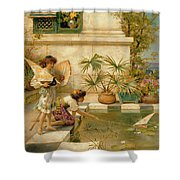 Children Playing With Boats Shower Curtain