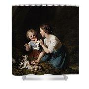 Children With Kitten Shower Curtain