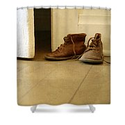 Child's Shoes By Open Door. Shower Curtain