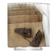 Child's Shoes By Stairs Shower Curtain