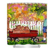 Chilrens Art-boy And Girl With Wagon And Puppies Shower Curtain