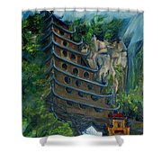 Chinese Hanging Temple Shower Curtain