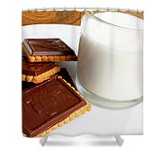 Chocolate Coated Butter Cookies And Milk Shower Curtain