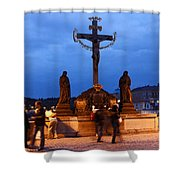 Christ Crucifixion Sculpture Shower Curtain