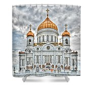 Christ The Saviour Cathedral In Moscow. The Main Entrance Shower Curtain