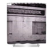 Christian Pest Control Shower Curtain