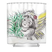 Christmas Angel Shower Curtain by Laurie Lundquist