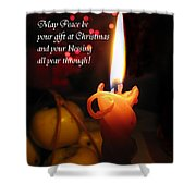 Christmas Candle Peace Greeting  Shower Curtain