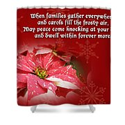 Christmas Card - Red And White Poinsettia Shower Curtain